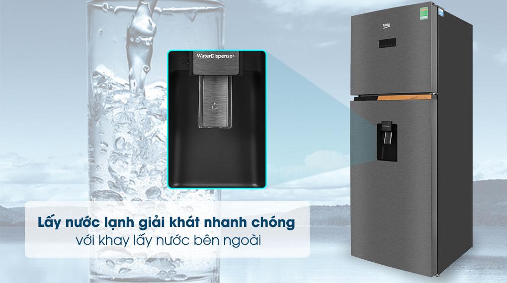 Khay lấy nước bên ngoài - Tủ lạnh Beko Inverter 375 lít RDNT401E50VZDK Mới 2020