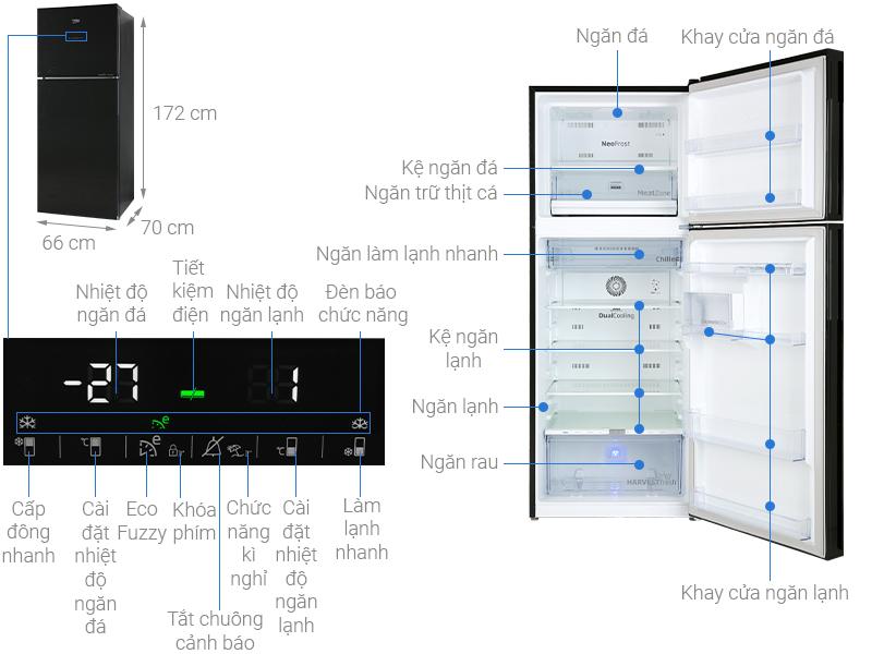 Thông số kỹ thuật Tủ lạnh Beko Inverter 375 lít RDNT401E50VZGB