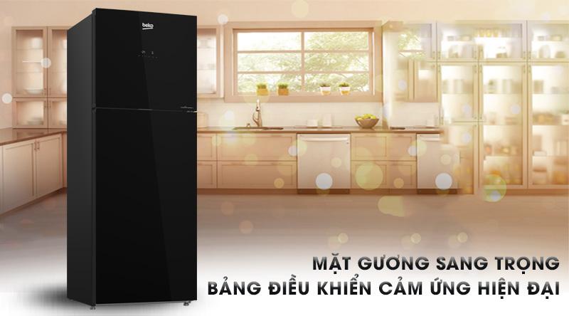 Tủ lạnh Beko Inverter 375 lít RDNT401E50VZGB-Thiết kế sang trọng với mặt gương và bảng điều khiển cảm ứng bên ngoài