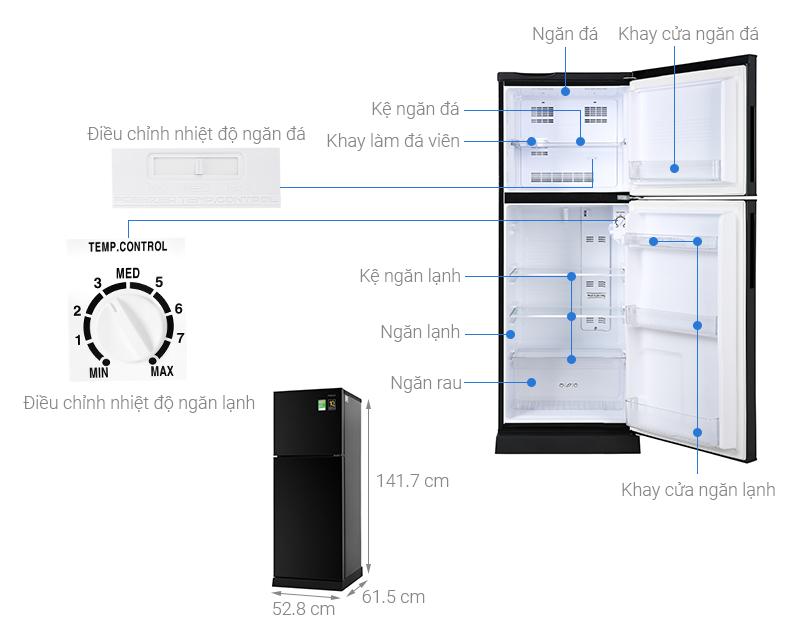 Thông số kỹ thuật Tủ lạnh Aqua Inverter 186 lít AQR-T219FA(PB)