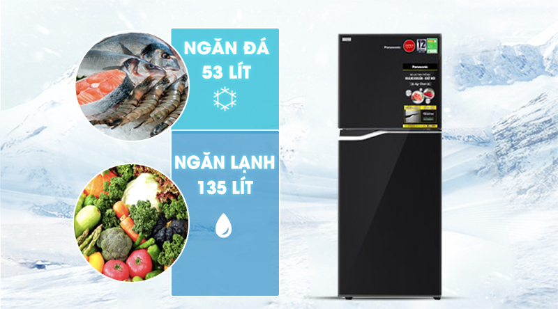Tủ lạnh Panasonic Inverter 188 lít NR-BA229PKVN-Dung tích 188 lít, phù hợp cho gia đình nhỏ (2 - 3 người)