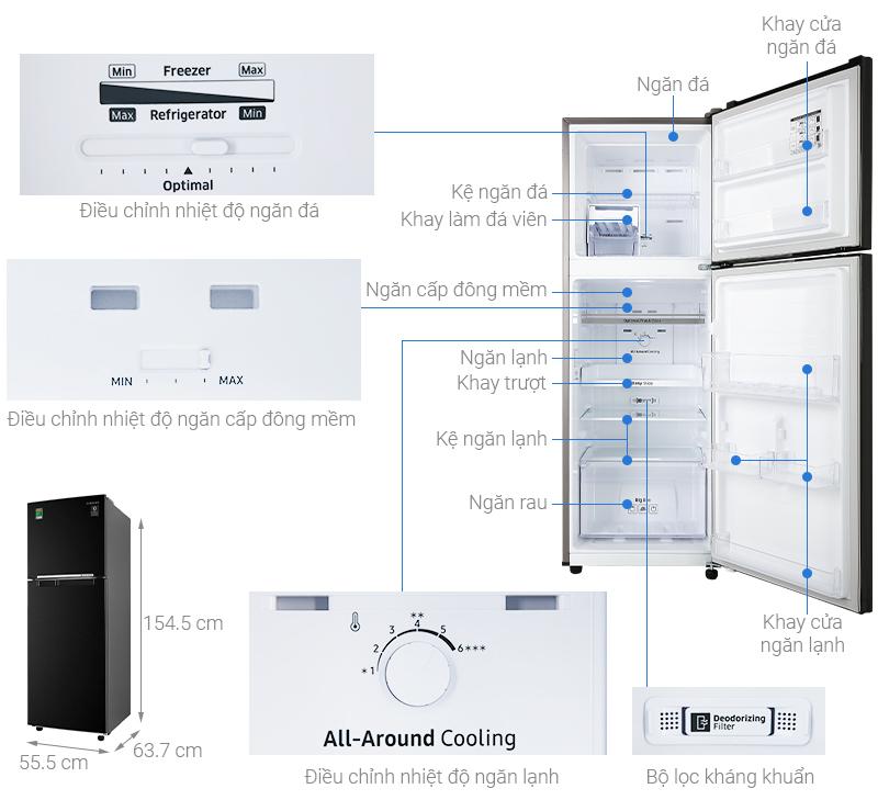 Thông số kỹ thuật Tủ lạnh Samsung Inverter 236 lít RT22M4032BU/SV