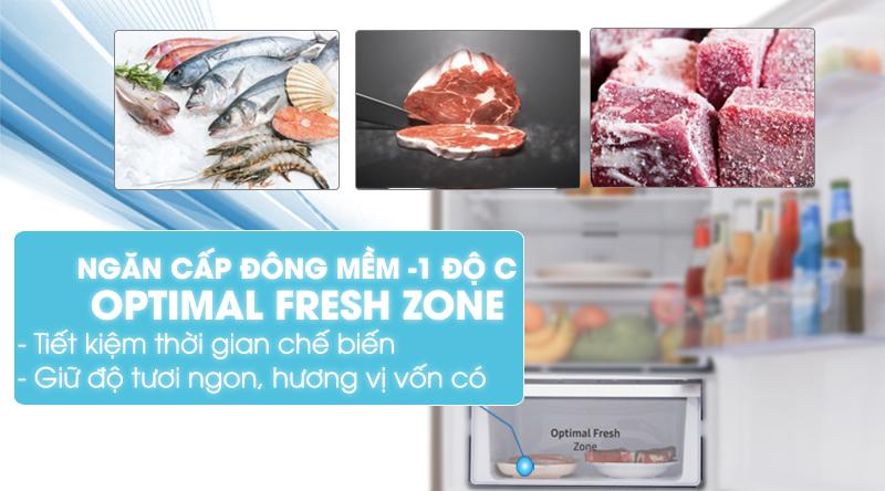 Tủ lạnh Samsung Inverter 236 lít RT22M4032BU/SV-Tiết kiệm thời gian chế biến nhờ ngăn đông mềm Optimal Fresh Zone -1 độ C