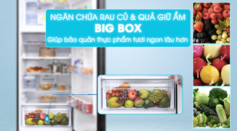 Tủ lạnh Samsung Inverter 236 lít RT22M4032BU/SV-Giữ rau củ tươi ngon, bảo quản lâu hơn trong ngăn cân bằng độ ẩm Big Box