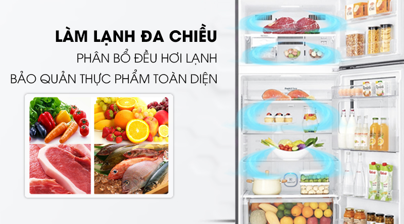 Tủ lạnh Samsung Inverter 236 lít RT22M4032BU/SV-Phân bổ đều luồng khí lạnh trong tủ nhờ công nghệ làm lạnh đa chiều