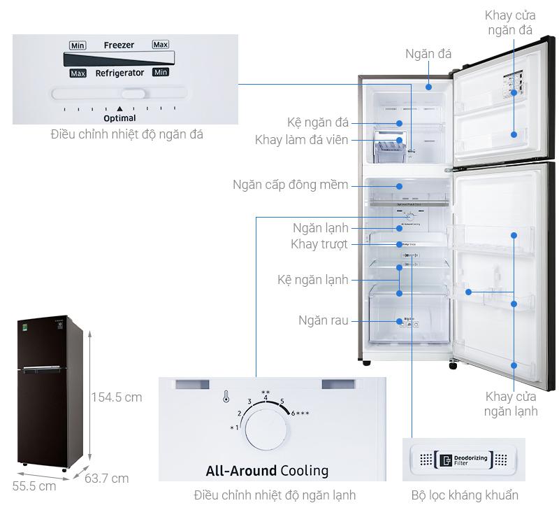 Thông số kỹ thuật Tủ lạnh Samsung Inverter 236 lít RT22M4032BY/SV