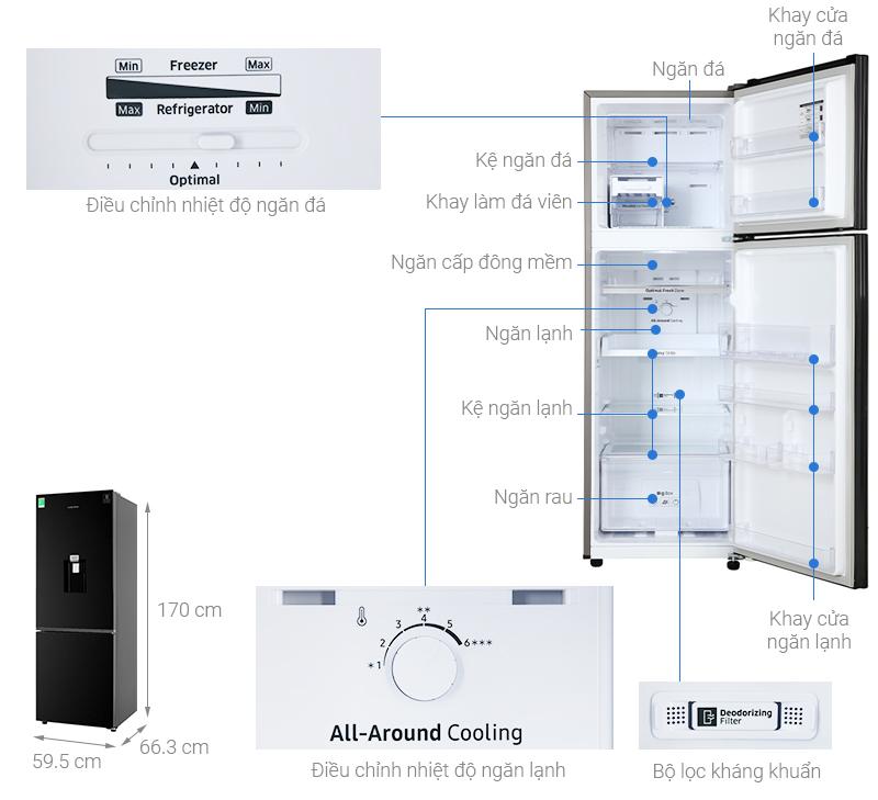 Thông số kỹ thuật Tủ lạnh Samsung Inverter 256 lít RT25M4032BU/SV