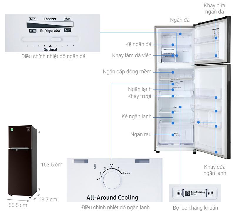 Thông số kỹ thuật Tủ lạnh Samsung Inverter 256 lít RT25M4032BY/SV