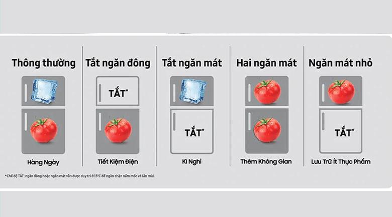 5 chế độ chuyển đổi theo nhu cầu - Tủ lạnh Samsung Inverter RT32K5932BU/SV
