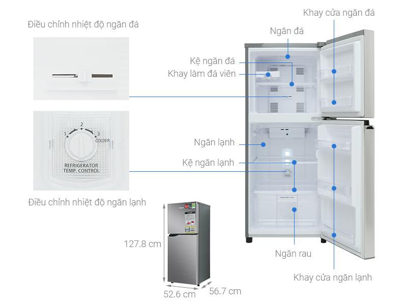 Thông số kỹ thuật Tủ lạnh Panasonic Inverter 167 lít NR-BA189PPVN