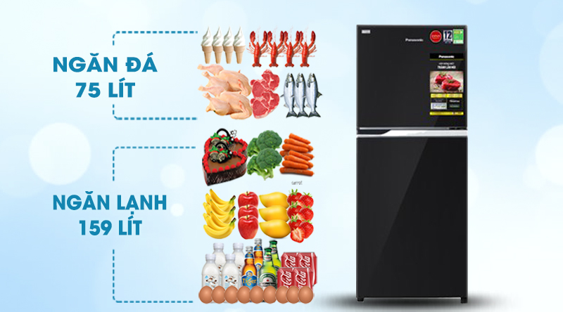 Tủ lạnh Panasonic Inverter 234 lít NR-BL263PKVN-Dung tích 234 lít, phù hợp gia đình 2 - 3 người