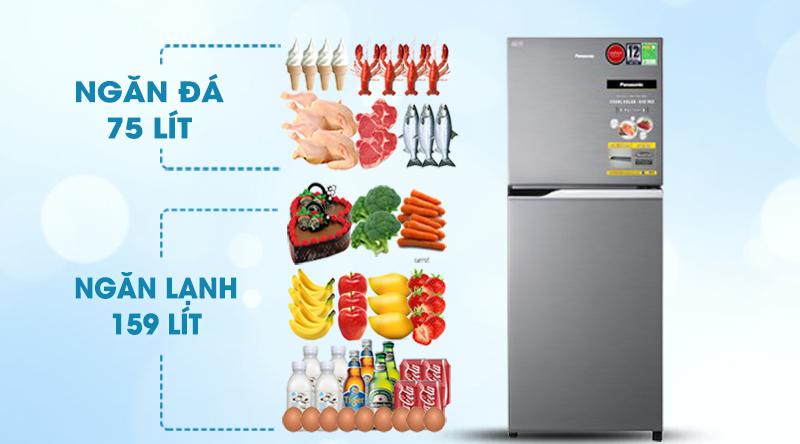 Tủ lạnh Panasonic Inverter 234 lít NR-BL26AVPVN-Dung tích 234 lít, phù hợp với gia đình nhỏ, ít người 2 - 3 thành viên