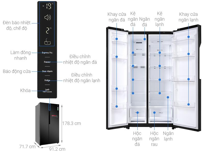 Thông số kỹ thuật Tủ lạnh LG Inverter 613 lít GR-B247WB