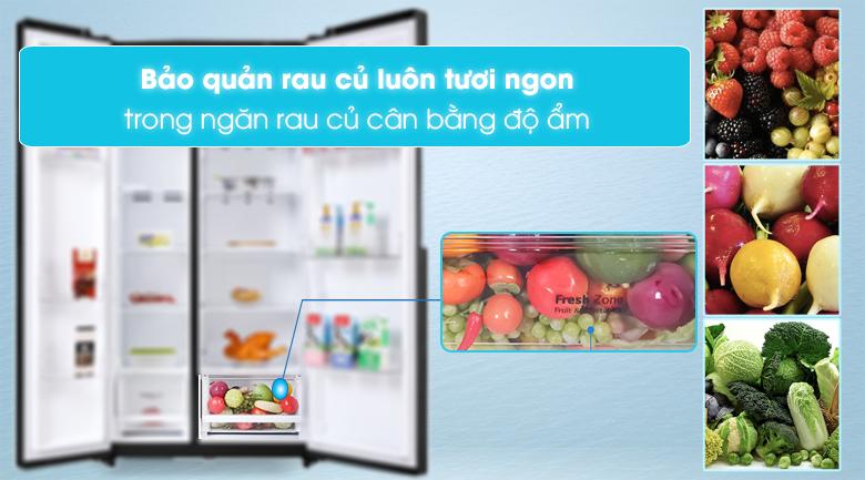 Tủ lạnh LG Inverter 613 lít GR-B247WB - Ngăn rau củ cân bằng ẩm