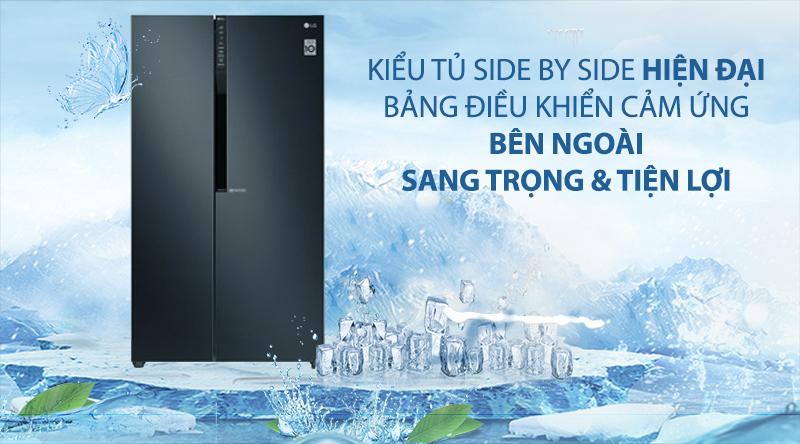 Tủ lạnh LG Inverter 613 lít GR-B247WB-Kiểu tủ hiện đại, bảng điều khiển cảm ứng bên ngoài sang trọng và tiện lợi