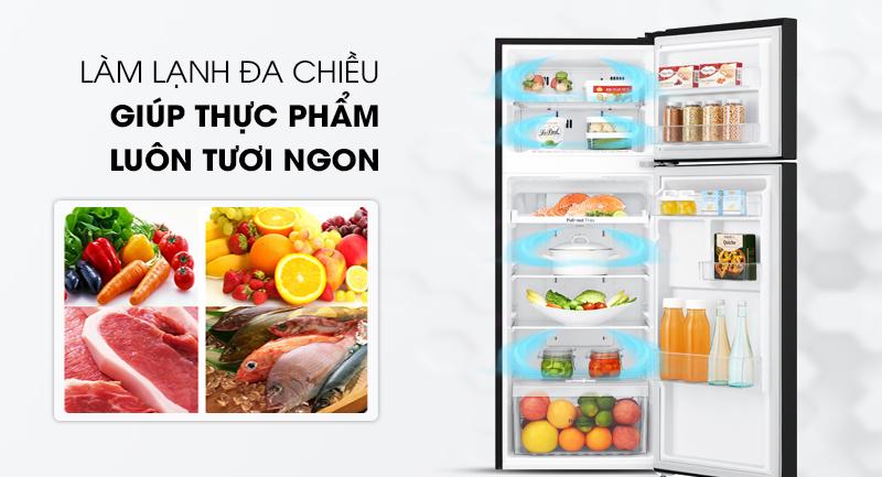 Tủ lạnh LG Inverter 187 lít GN-L205WB-Bảo quản thực phẩm tươi ngon nhờ phân bổ đều hơi lạnh của hệ thống khí lạnh đa chiều