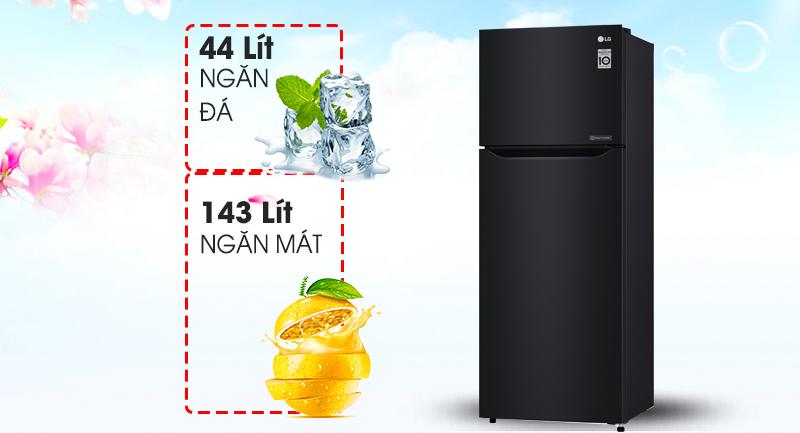 Tủ lạnh LG Inverter 187 lít GN-L205WB-Dung tích 187 lít, phù hợp gia đình nhỏ (2 - 3 thành viên)