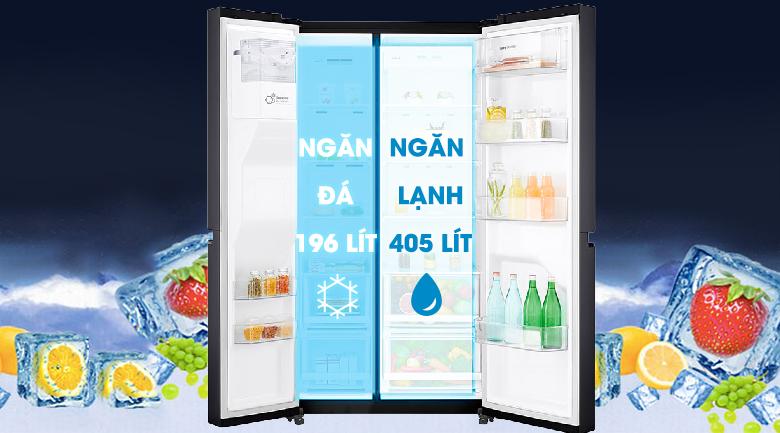 Dung tích tủ lạnh lên đến 601 lít