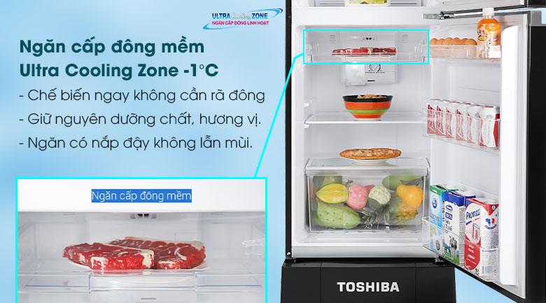 Tủ lạnh Toshiba Inverter 194 lít GR-A25VM(UKG1)-Giữ hương vị tươi ngon với ngăn đông mềm Ultra Cooling Zone -1 độ C