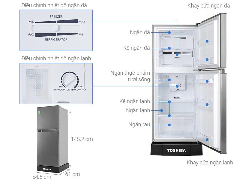 Thông số kỹ thuật Tủ lạnh Toshiba Inverter 194 lít GR-A25VS(DS1)
