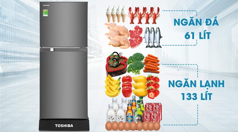 Dung tích - Tủ lạnh Toshiba Inverter 194 lít GR-A25VS(DS1)