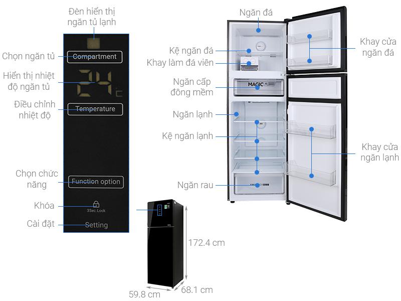 Thông số kỹ thuật Tủ lạnh Aqua Inverter 312 lít AQR-T359MA(GB)