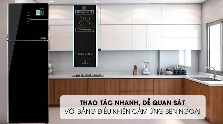 Tủ lạnh Aqua Inverter 312 lít AQR-T359MA(GB)-Thao tác nhanh, dễ quan sát với bảng điều khiển cảm ứng bên ngoài sang trọng