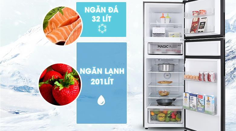 Tủ lạnh Aqua Inverter 312 lít AQR-T359MA(GB)-Dung tích 312 lít, phù hợp cho gia đình 3 - 4 người