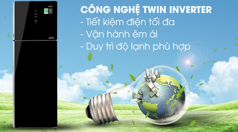 Tủ lạnh Aqua Inverter 312 lít AQR-T359MA(GB)-Tiết kiệm điện hiệu quả với công nghệ Twin Inverter