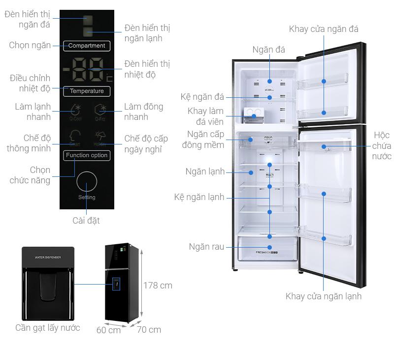 Thông số kỹ thuật Tủ lạnh Aqua Inverter 344 lít AQR-T389FA(WGB)