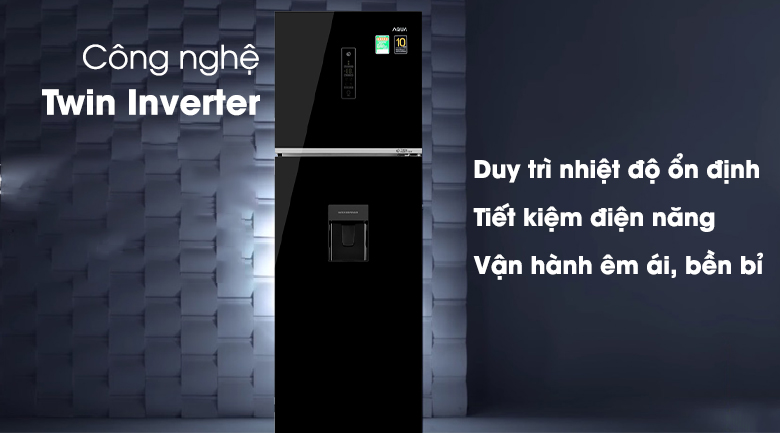 Tủ lạnh Aqua Inverter 344 lít AQR-T389FA(WGB)-Siêu tiết kiệm điện với công nghệ Twin Inverter