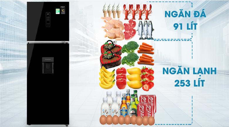 Tủ lạnh Aqua Inverter 344 lít AQR-T389FA(WGB)-Dung tích 344 lít, phù hợp cho gia đình 3 - 4 người