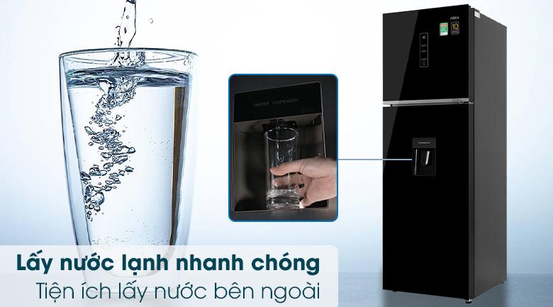 Tủ lạnh Aqua Inverter 344 lít AQR-T389FA(WGB)-Nhanh chóng lấy nước lạnh từ bên ngoài cửa tủ