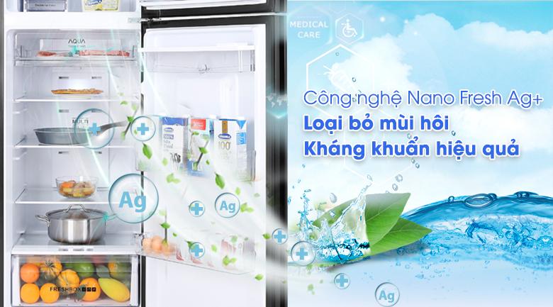 Tủ lạnh Aqua Inverter 344 lít AQR-T389FA(WGB)-Khử mùi hôi, loại bỏ vi khuẩn hiệu quả với công nghệ Nano Fresh Ag+