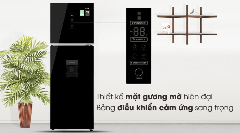 Tủ lạnh Aqua Inverter 344 lít AQR-T389FA(WGB)-Thiết kế mặt gương mờ hiện đại, màn hình điều khiển cảm ứng sang trọng
