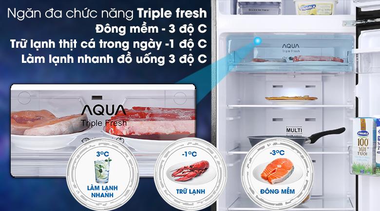 Tủ lạnh Aqua Inverter 344 lít AQR-T389FA(WGB)-Rút ngắn thời gian rã đông, chế biến thực phẩm nhanh nhờ ngăn đông mềm Triple fresh -3°C