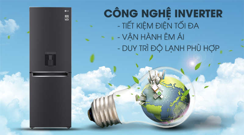 Tủ lạnh LG Inverter 305 lít GR-D305MC-Sử dụng tiết kiệm điện với công nghệ Inverter