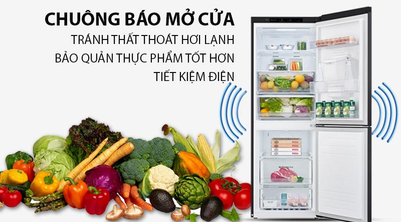 Tủ lạnh LG Inverter 305 lít GR-D305MC-Giảm thiểu hơi lạnh thất thoát, gây hao điện nhờ chức năng chuông báo cửa mở