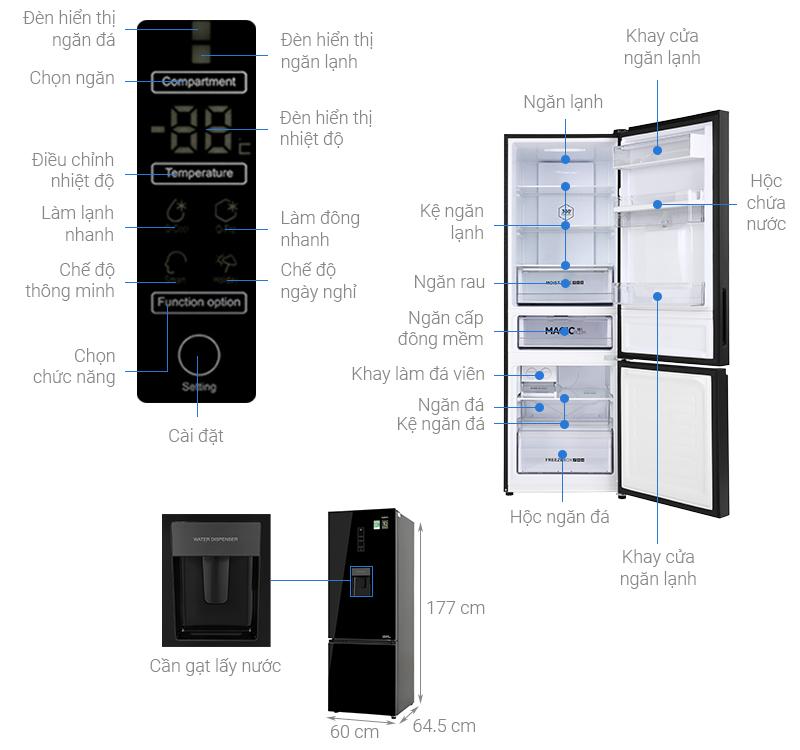 Thông số kỹ thuật Tủ lạnh Aqua Inverter 320 lít AQR-B379MA(WGB)