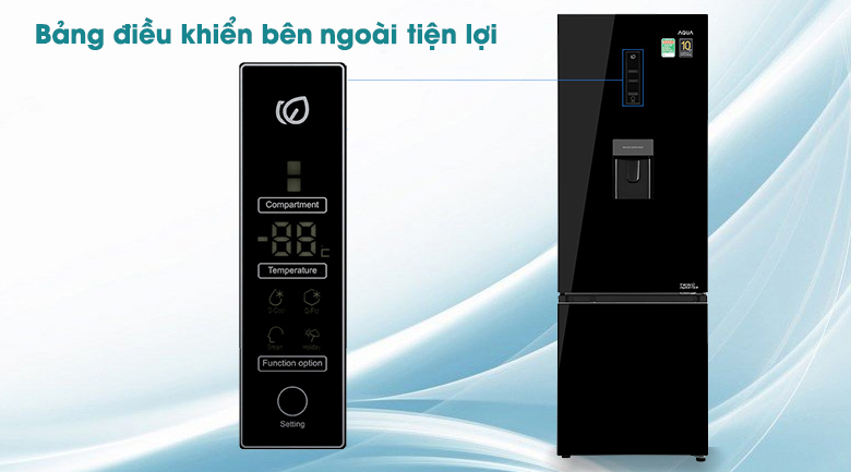 Tủ lạnh Aqua Inverter 320 lít AQR-B379MA(WGB) - Bảng điều khiển