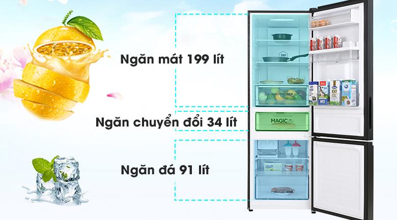 Tủ lạnh Aqua Inverter 320 lít AQR-B379MA(WGB) - Dung tích