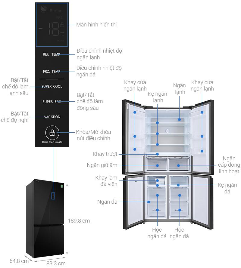 Thông số kỹ thuật Tủ lạnh Toshiba Inverter 511 lít GR-RF610WE-PGV(22)-XK