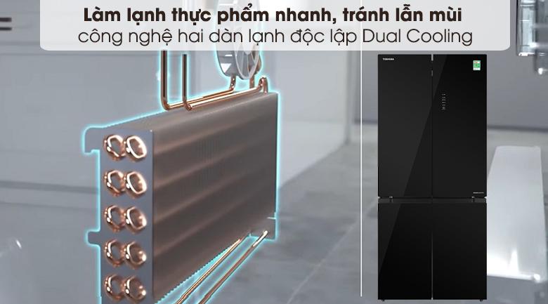 Tủ lạnh Toshiba Inverter 511 lít GR-RF610WE-PGV(22)-XK-Làm lạnh thực phẩm nhanh, tránh lẫn mùi nhờ công nghệ Dual Cooling