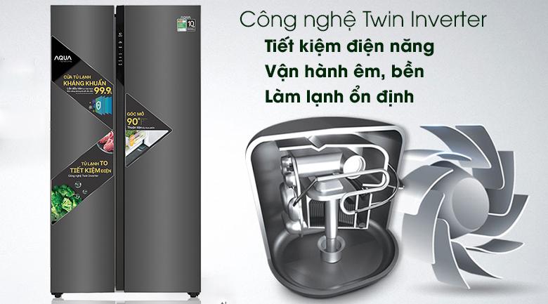 Tủ lạnh Aqua Inverter 541 lít AQR-S541XA(BL)-Nâng cao hiệu quả tiết kiệm điện năng với công nghệ Twin Inverter