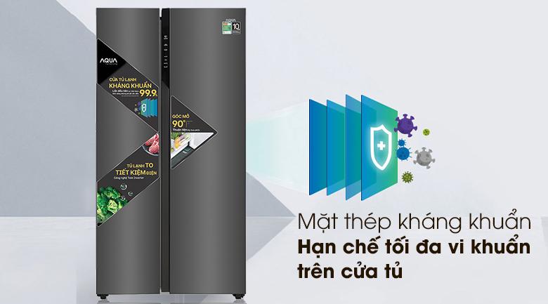 Tủ lạnh Aqua Inverter 541 lít AQR-S541XA(BL)-Tủ lạnh Aqua Inverter 541 lít AQR-S541XA(BL)-Kiểu tủ side by side lớn - sang trọng, mặt thép kháng khuẩn tiện lợi