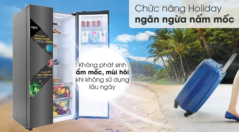 Tủ lạnh Aqua Inverter 541 lít AQR-S541XA(BL)-Tiện lợi, hạn chế nấm mốc phát triển với chức năng Holiday