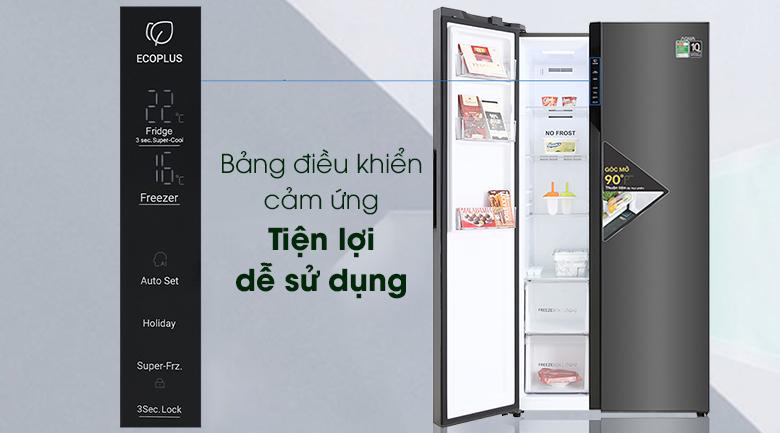Tủ lạnh Aqua Inverter 541 lít AQR-S541XA(BL)-Bảng điều khiển cảm ứng bên ngoài giúp thao tác chức năng tủ nhanh chóng