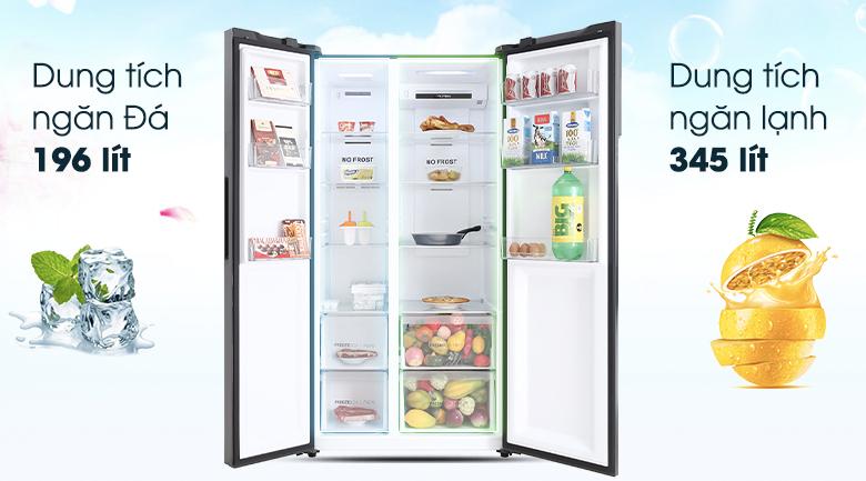 Tủ lạnh Aqua Inverter 541 lít AQR-S541XA(BL)-Dung tích lớn 541 lít, phù hợp với những gia đình 4 - 5 thành viên