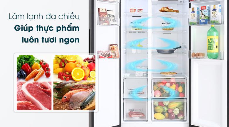Tủ lạnh Aqua Inverter 541 lít AQR-S541XA(BL)-Làm lạnh thực phẩm toàn diện nhờ công nghệ làm lạnh đa chiều