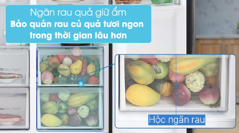 Tủ lạnh Aqua Inverter 541 lít AQR-S541XA(BL)-Kéo dài thời gian bảo quản thực phẩm tươi lâu trong ngăn rau củ cân bằng độ ẩm
